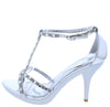 Judy Silver Open Toe Stud Sparkle T Strap Heel - Wholesale Fashion Shoes