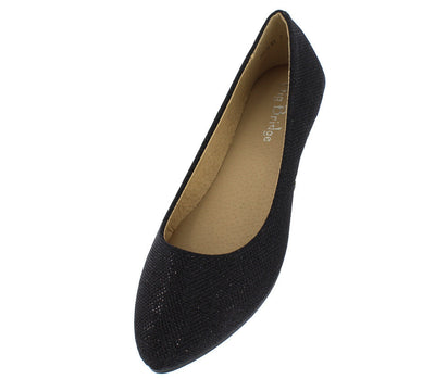 Julia61 Black Sparkle Slide on Ballet Flat - Wholesale Fashion Shoes