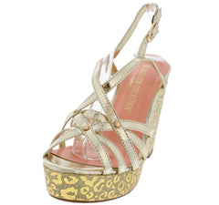 JULIE19 GOLD STRAPPY METALLIC LEOPARD WEDGE - Wholesale Fashion Shoes