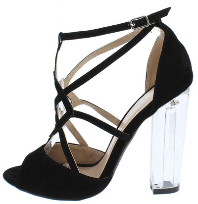Jun Black Strappy Peep Toe Women's Lucite Heel - Wholesale Fashion Shoes