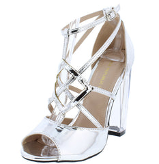 JUN SILVER STRAPPY PEEP TOE WOMEN'S LUCITE HEEL - Wholesale Fashion Shoes