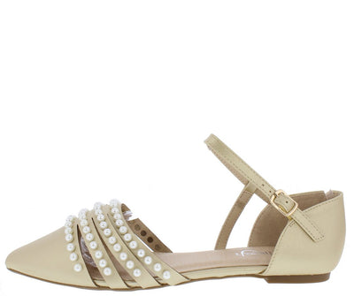 June03 Champagne Pointed Toe Multi Pearl Strap Dorsay Flat - Wholesale Fashion Shoes