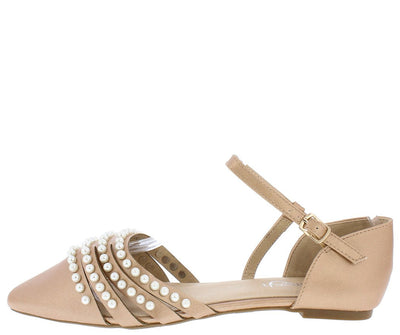 June03 Rose Gold Pointed Toe Multi Pearl Strap Dorsay Flat - Wholesale Fashion Shoes