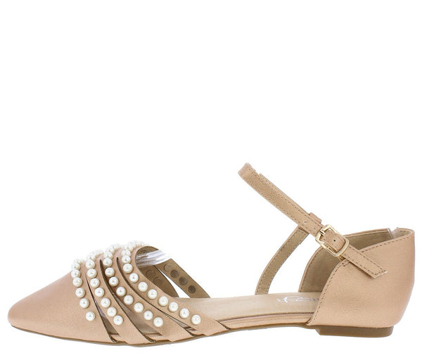 6cffd9af542 June03 Rose Gold Pointed Toe Multi Pearl Strap Dorsay Flat