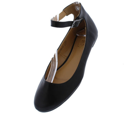 Justina03 Black Round Toe Ankle Strap Ballet Flat - Wholesale Fashion Shoes