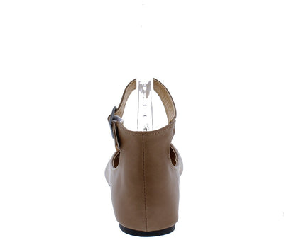 Justina03 Taupe Round Toe Ankle Strap Ballet Flat - Wholesale Fashion Shoes