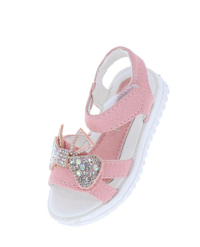 Lucy221 Pink Rhinestone Bow Open Toe Velcro Infants Sandal - Wholesale Fashion Shoes