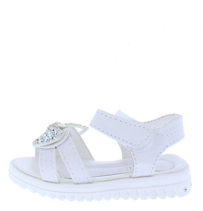 Lucy221 White Rhinestone Bow Open Toe Velcro Infants Sandal - Wholesale Fashion Shoes