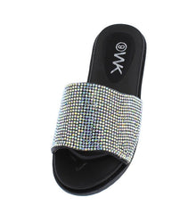 K52KM BLACK RHINESTONE SLIDE ON KIDS SANDAL - Wholesale Fashion Shoes