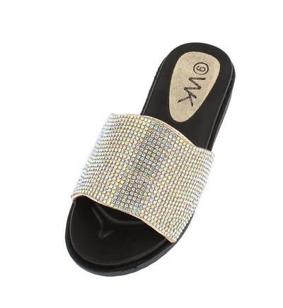 K52km Gold Rhinestone Slide on Kids Sandal - Wholesale Fashion Shoes