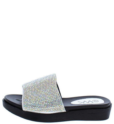 K52km Silver Rhinestone Slide on Kids Sandal - Wholesale Fashion Shoes