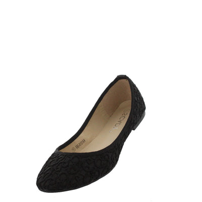 Ka1019068 Black Textured Embroidered Flat - Wholesale Fashion Shoes