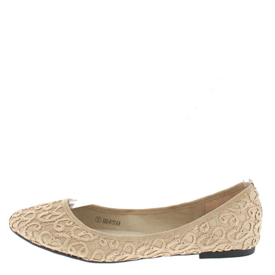 Ka1019068 Beige Textured Embroidered Flat - Wholesale Fashion Shoes