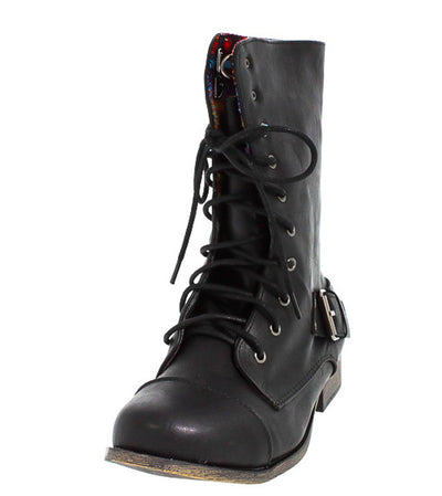 Kalande1 Black Tribal Combat Boot - Wholesale Fashion Shoes