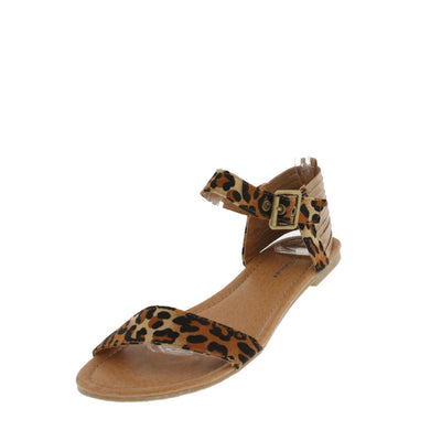 Kalisa93 Camel Leopard Strappy Ankle Sandals - Wholesale Fashion Shoes