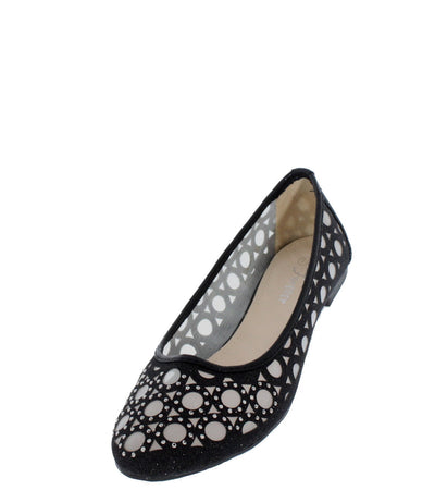 Karra15 Black Mesh Cut-out Flat - Wholesale Fashion Shoes