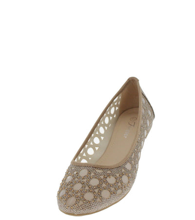 Karra15 Champagne Mesh Cut-out Flat - Wholesale Fashion Shoes