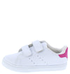 Bernie White Pink Dual Velcro Kids Sneaker Flat - Wholesale Fashion Shoes