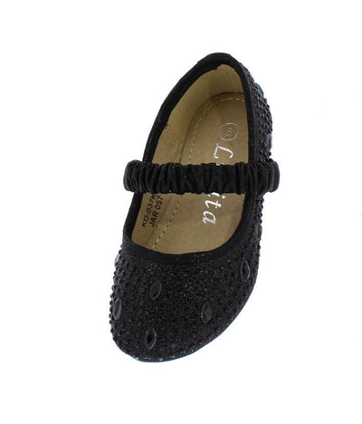 Kd037ks Black Rhinestone Mary Jane Kids Flat - Wholesale Fashion Shoes
