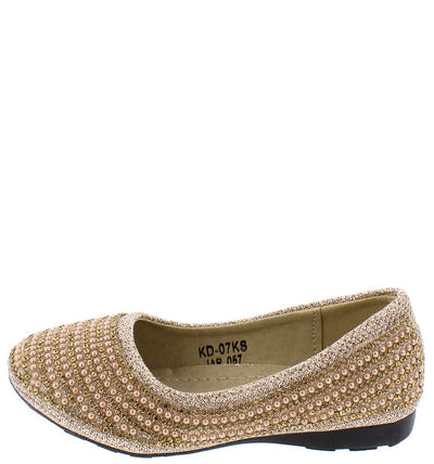 Kd07ks Gold Girls Beaded Slide on Rubber Sole Flat - Wholesale Fashion Shoes