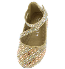 KD28KS GOLD GLITTER RHINESTONE INFANT FLAT - Wholesale Fashion Shoes