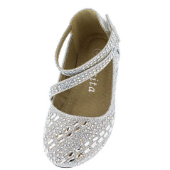 KD28KS SILVER GLITTER RHINESTONE INFANT FLAT - Wholesale Fashion Shoes