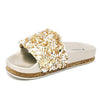 Keelin03 Gold Sparkle Beaded Open Toe Mule Slide Sandal - Wholesale Fashion Shoes