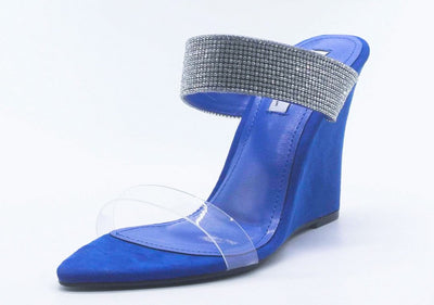 Kimber Blue Lucite Pointed Open Toe Rhinestone Strap Wedge - Wholesale Fashion Shoes