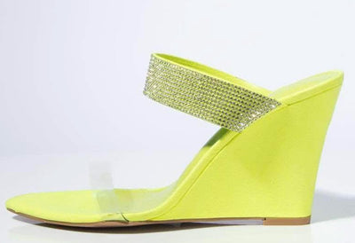 Kimber Lime Lucite Pointed Open Toe Rhinestone Strap Wedge - Wholesale Fashion Shoes