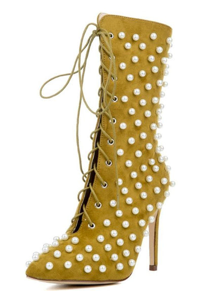 Kitana31 Olive Pearl Embellished Lace Up Stiletto Boot - Wholesale Fashion Shoes