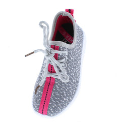 KALVIN FUCHSIA GREY CLOTH COLOR STRIPE KIDS SNEAKER FLAT - Wholesale Fashion Shoes
