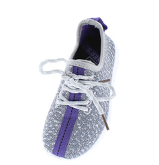 KALVIN LILAC GREY CLOTH COLOR STRIPE KIDS SNEAKER FLAT - Wholesale Fashion Shoes