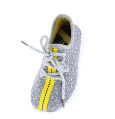 KALVIN YELLOW GREY CLOTH COLOR STRIPE KIDS SNEAKER FLAT - Wholesale Fashion Shoes