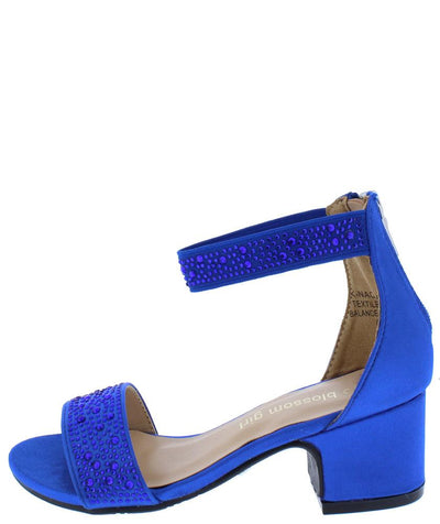 Knaomi1 Royal Blue Satin Sparkle Open Toe Ankle Strap Kids Low Heel - Wholesale Fashion Shoes