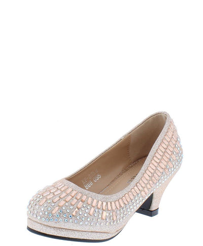 Addison219 Champagne Glitter Rhinestone Kids Low Pump Heel - Wholesale Fashion Shoes