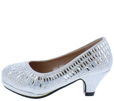 Addison219 Silver Glitter Rhinestone Kids Low Pump Heel - Wholesale Fashion Shoes