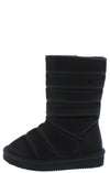 Donna233 Black Quilted Pull On Flat Kids Boot - Wholesale Fashion Shoes