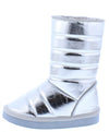 Donna233 Silver Quilted Pull On Flat Kids Boot - Wholesale Fashion Shoes