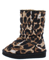 Donna233 Leopard Quilted Pull On Flat Kids Boot - Wholesale Fashion Shoes