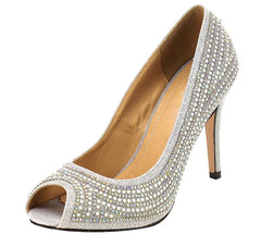 ETHAN SILVER PEEP TOE RHINESTONE PEARL HEEL - Wholesale Fashion Shoes