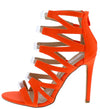 Kaie10 Orange Open Toe Lucite Strap Cut Out Stiletto Heel - Wholesale Fashion Shoes