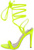 Kaie5 Lime Open Toe Slingback Ankle Wrap Stiletto Heel