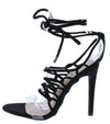 Kaie7 Black Lucite Open Toe Ghillie Lace Up Ankle Wrap Heel - Wholesale Fashion Shoes