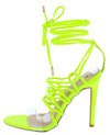 Kaie7 Lime Green Lucite Open Toe Ghillie Lace Up Ankle Wrap Heel - Wholesale Fashion Shoes