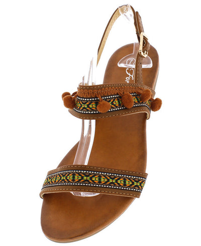 Kailyn28 Tan Multi Color Embroidered Pom Pom Sandal - Wholesale Fashion Shoes