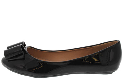 Olivie33 Black Patent Bow Toe Ballet Flat - Wholesale Fashion Shoes