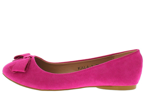 KALA3 FUCHSIA FAUX SUEDE BOW BALLET FLAT - Wholesale Fashion Shoes - 1