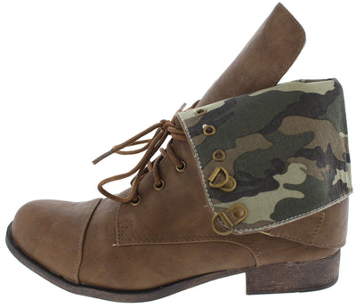 Kalande1 Taupe Camo Combat Boot - Wholesale Fashion Shoes