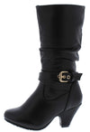Kale10k Black Side Buckle Knee High Kids Boot - Wholesale Fashion Shoes