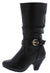 Kale10k Black Side Buckle Knee High Kids Boot